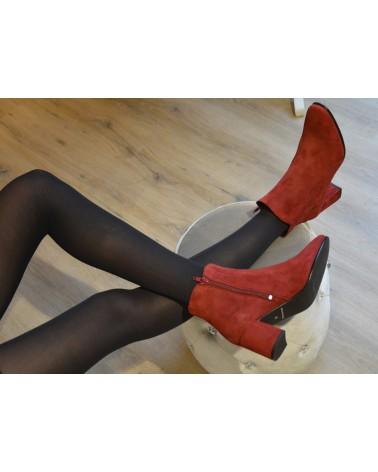 Boots à talons bordeaux en daim femme EXIT