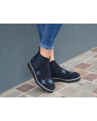 Boots bleu marine femme étoiles REQINS