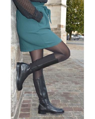 Bottes noires cuir femme ACEBO'S