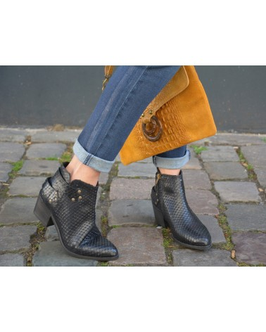 Boots noirs écaillés femme REQINS