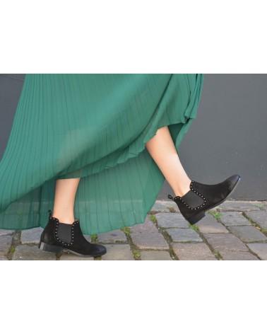 Boots noirs femme croûte de cuir MKD