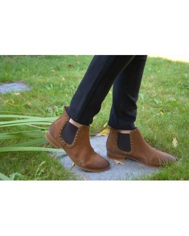 Boots cognac femme croûte de cuir MKD