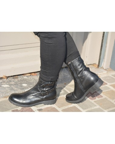 Boots noirs cuir style motarde femme REQINS