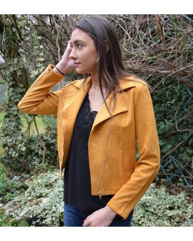 86cd75858e10 Veste suédine femme style perfecto couleur jaune curry ...
