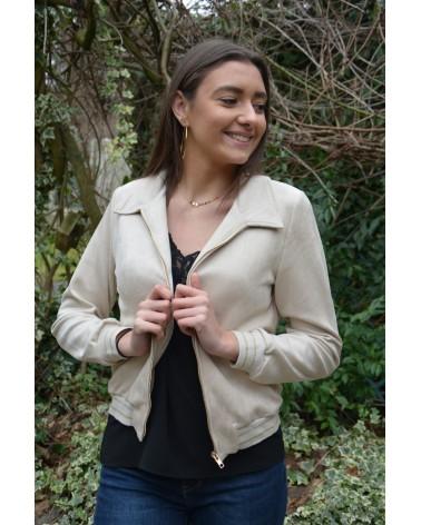 Veste courte en suédine beige zipée avec col Y'COO