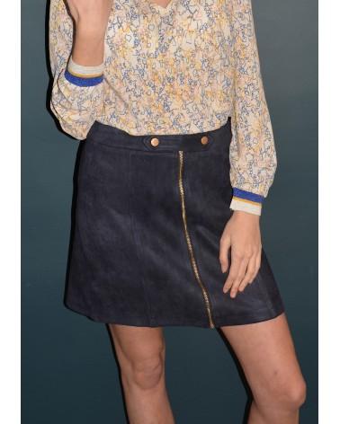 Jupe courte en suédine couleur bleu marine Y'COO