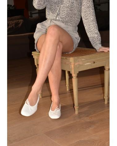 Ballerine plate blanche en cuir pour femme REQINS