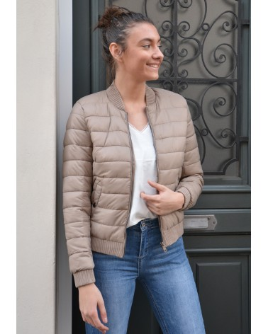 Doudoune style bombers couleur taupe BLISE