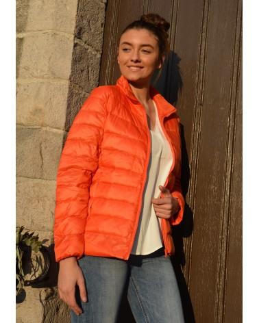 Doudoune fine BEVERLY couleur orange garnissage en plumes