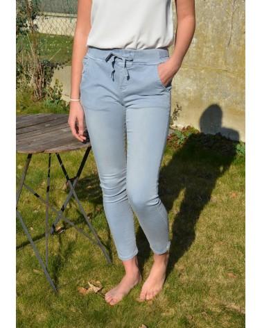 Pantalon bleu ciel ONADO taille élastiquée