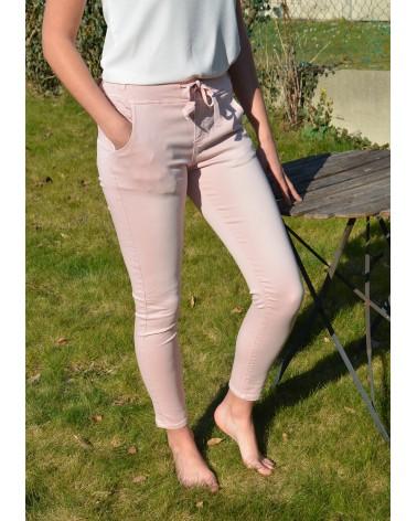 Pantalon rose ONADO élastiqué à la taille