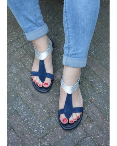 Sandale REQINS couleur océan et argent avec entre doigts