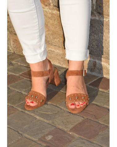 Sandale à talon REQINS couleur camel