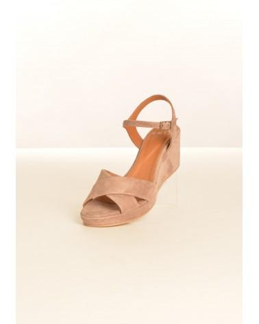 Sandale compensée EXIT pour femme couleur taupe