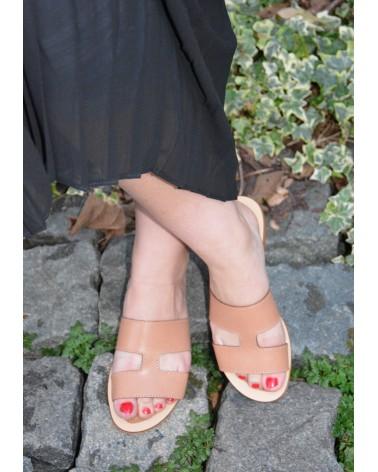 Sandale plate à enfiler EXIT en cuir camel