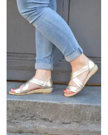 Sandale dorée petit compensé corde lanières croisées devant EXIT