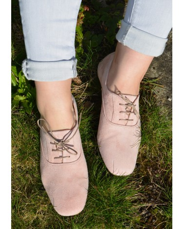 Derbies rose a lacets REQINS en cuir souple