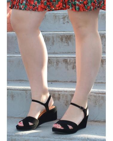 Sandale compensée noir EXIT pour femme