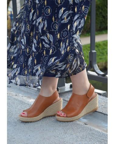Nus pieds compensés semelle en corde EXIT en cuir camel