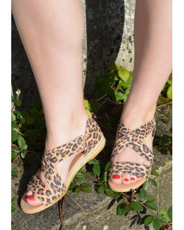 sandale léopard petit compensé corde lanières croisées devant EXIT