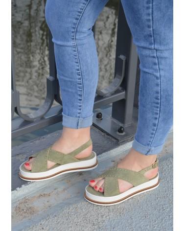 Sandale kaki EXIT avec semelle épaisse blanche