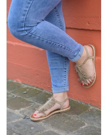 Sandale avec frange EXIT couleur taupe