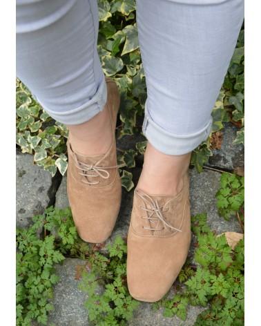 Derbies en peau taupe REQINS à lacets