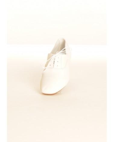 Derbies en cuir blanc REQINS à lacets