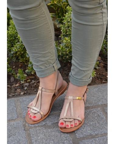 Sandales plates en cuir or irisé à brides TROPEZIENNES