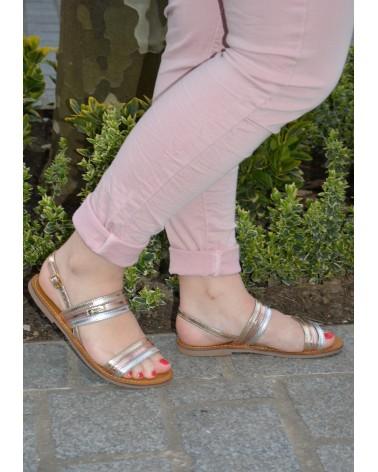 Sandales plates en cuir métallisé tricolore à multiple brides TROPEZIENNES