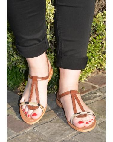 Sandale plates en cuir marron imprimé léopard à brides TROPEZIENNES