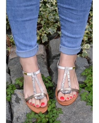 Sandale plates en cuir blanc, or imprimé serpent à brides TROPEZIENNES