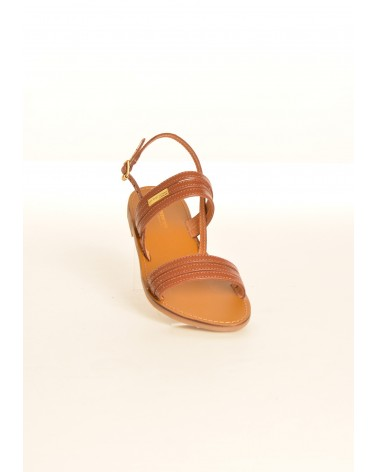 Sandale plates en cuir mat marron à multiples brides TROPEZIENNES