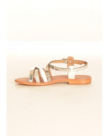 Sandales plates avec lanières TROPEZIENNES en cuir blanc argentée et imprimée serpent