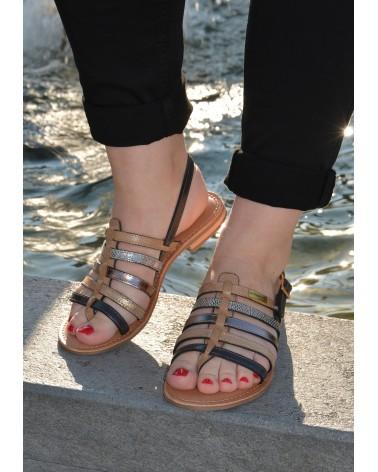 Nu-pieds avec plusieurs lanières TROPEZIENNES en cuir avec entre doigts couleur taupe