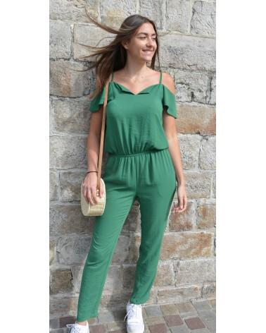 Combi pantalon IT HIPPIE unie vert avec petites manches