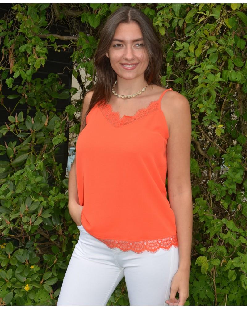 26a381caeb2 Prêt à porter femme top fine bretelle it hippie couleur corail avec ...