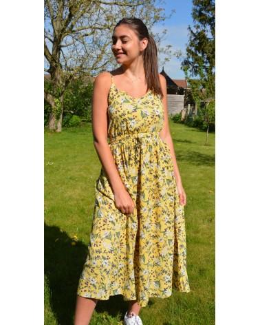 Robe longue IT HIPPIE imprimée fleurie jaune fine bretelle