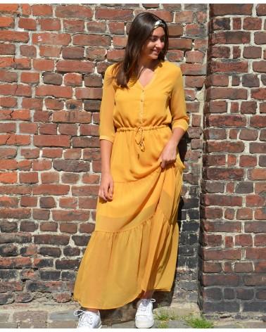 Robe longue unie IT HIPPIE couleur safran manches 3/4