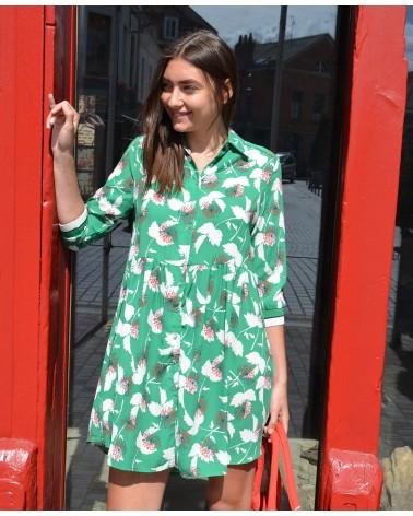 Robe courte IT HIPPIE imprimée vert et rouge