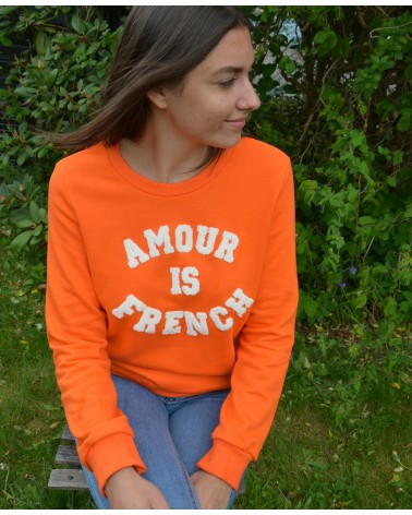 Sweat Amour is french orange et blanc JUBYLEE