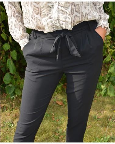 Pantalon fluide noir pour femme CERISE BLUE
