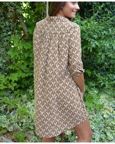 Robe courte et ample IT HIPPIE imprimée camel