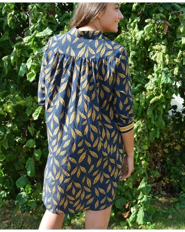 Robe ample et courte IT HIPPIE imprimée moutarde