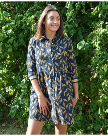 Robe ample et courte IT HIPPIE imprimée moutarde