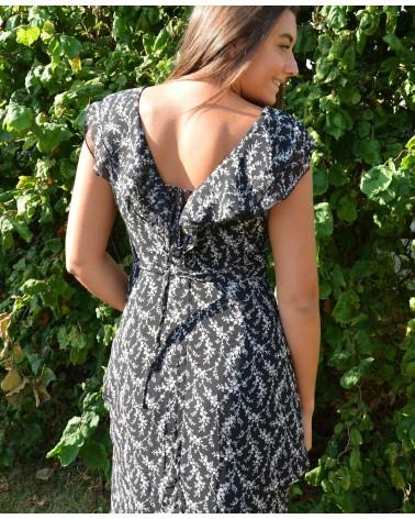 Longue robe fond noir imprimée fleurie MAJOLICA