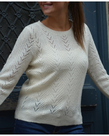 Pull écru col rond maille lurex MAJOLICA