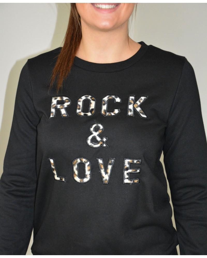 sweat noir femme inscription rock