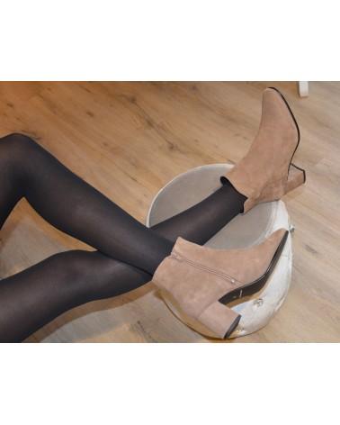 Boots à talons taupe en daim femme EXIT