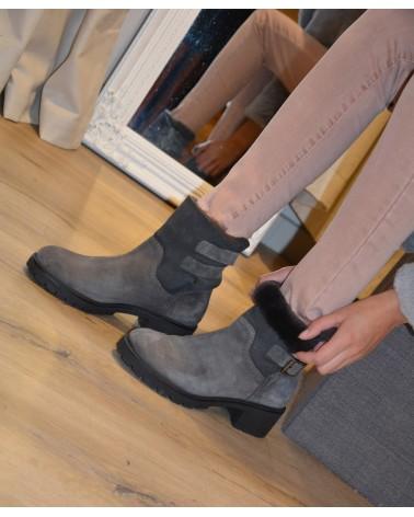 Boots fourrées grises femme EXIT